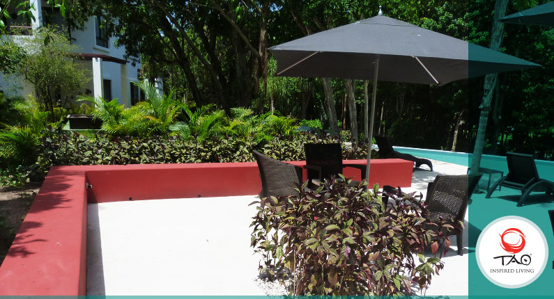 We painted the areas around the pool and bathrooms