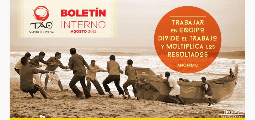 Boletín Interno TAO - 09 de agosto de 2013 - Trabajar en equipo divide el trabajo y multiplica los resultados
