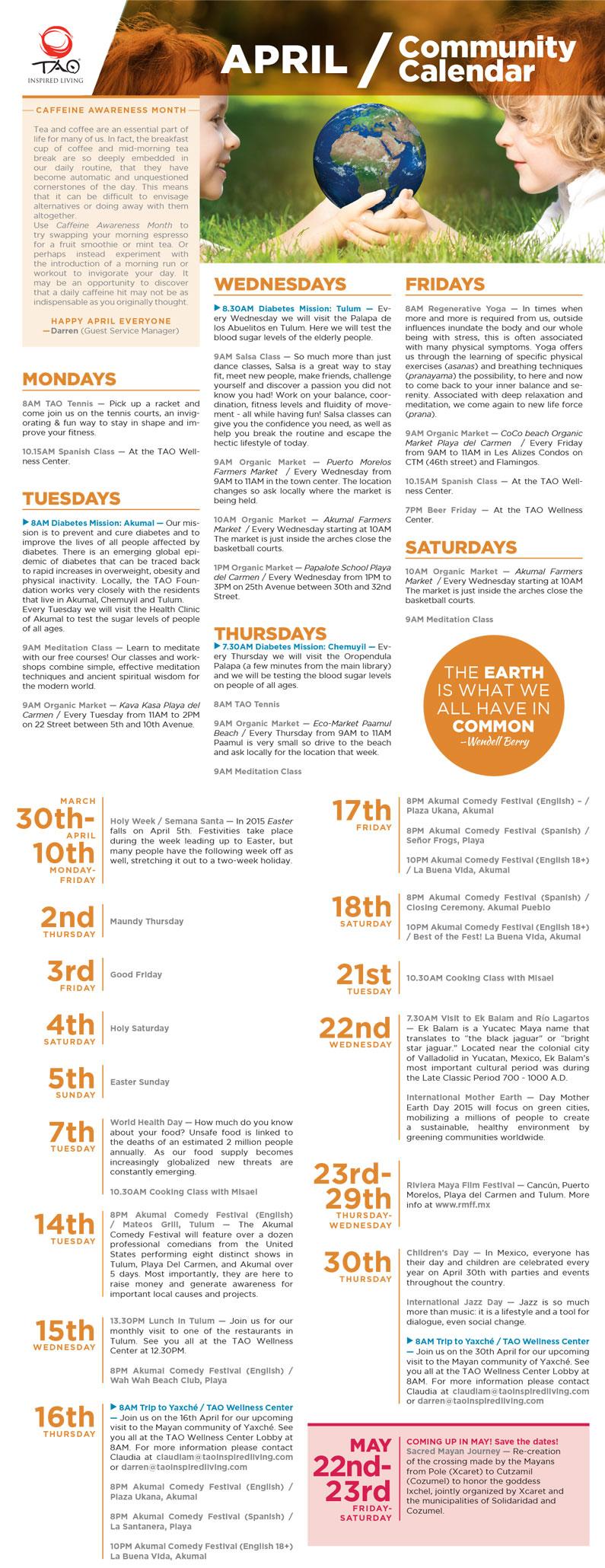 TAO Community Calendar / April 2015